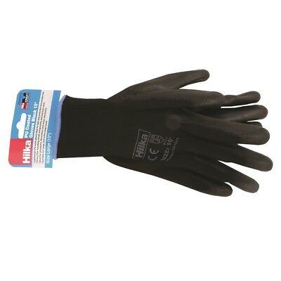 12 Pairs Hilka Contractors Lightweight PU Coated Black Work Gloves Size 9 or 10