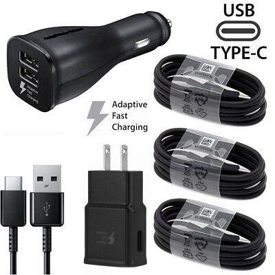 For Samsung S8 S9 S10 Plus Note 9 8 Adaptive Fast Wall Car Charger Type-C Cable
