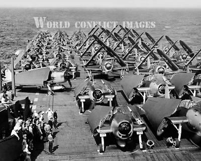 WW2 USN Grumman F6F-5 Hellcats SB2C TCM-1C Warm Up USS Intrepid 8x10 Photo