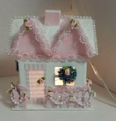 shabby chic pink Christmas house cardboard electric painted decorated glitter