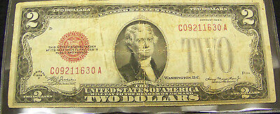 1928 D  $2 Red Seal Note # C 09211630  A -  FINE