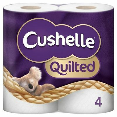 4x Cushelle Quilted 4 Roll Toilet Tissue White 4 per pack