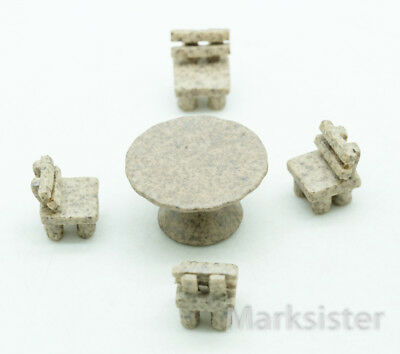 Dollhouse Miniature Ceramic Funiture Set Table Chair - FPP031