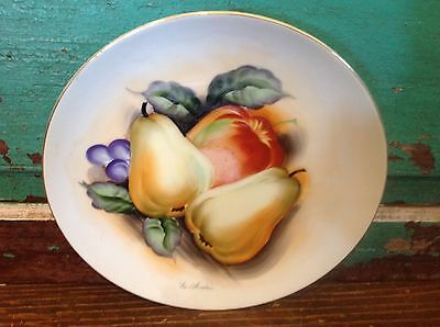 Vintage Hand Painted Plate, Japan, Chikara, Fruit Still Life, Pear, Apple, Leaf