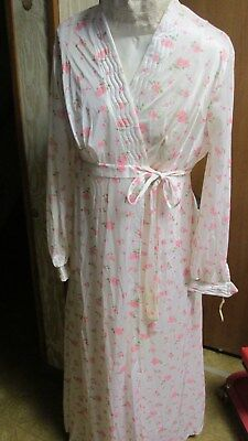 """""""""""long Nightgown & Robe Set - White With Pink Flowers"""""""" Size M - Vintage, Mode"""