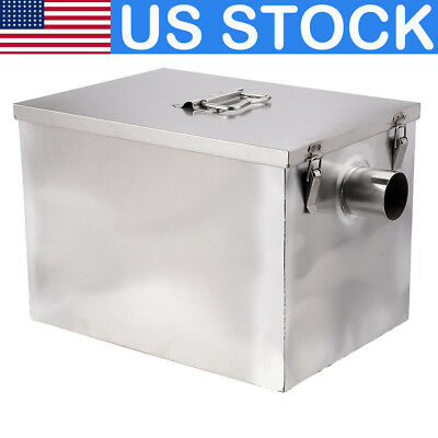 US 8LB Commercial 5GPM Grease Trap Separator Stainless Steel Interceptor Kitchen