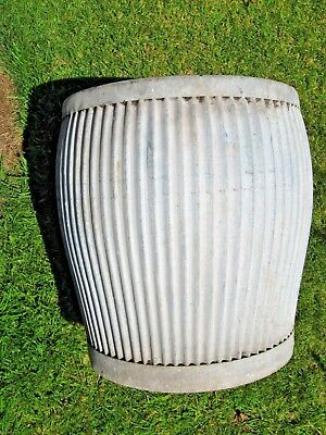 Original Vintage Ribbed Galvanised Dolly Tub-Sound  Condition-Ideal As Planter/1