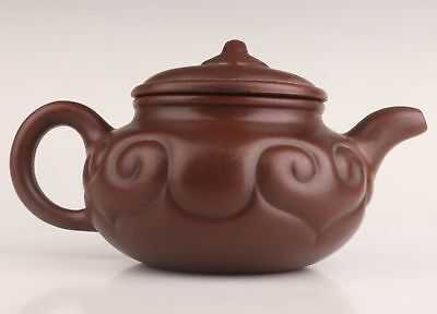 Real Yixing Purple Clay Hand-Carved Big Teapot Tableware Old Collection