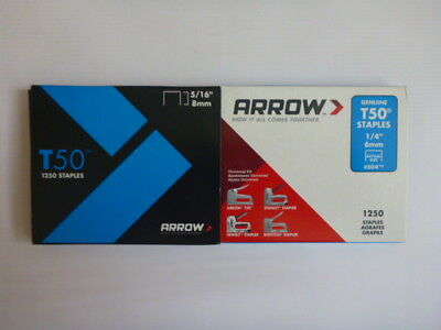 Genuine Arrow Staples -  6mm and 8mm - 1250 Pack