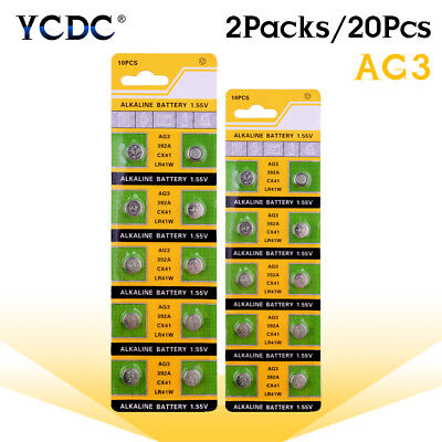 20Pcs AG3 LR41 392 384 SR41 192 LR736 Button Coin Cell Alkaline Battery 1.55V 2