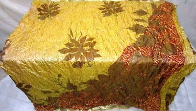 Cream Rust Pure Silk 4 yd Vintage Sari Saree Designs Gift for Mother wrap #9AW0I