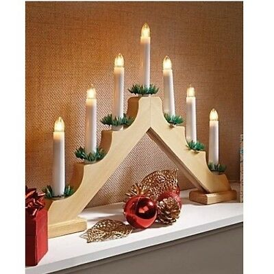 7 Bulb LED Real Wood Battery Operated Window Candle Bridge Christmas Decoration