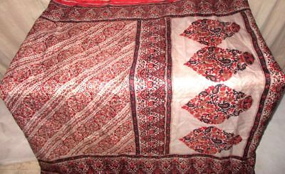 Cream Maroon Pure Silk 4 yd Vintage Antique Sari Saree Gift for Mother NR #9AW8O