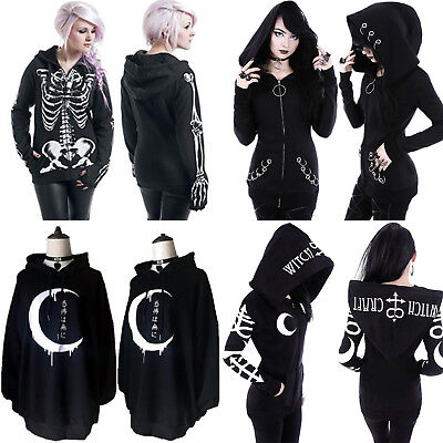 Black Womens Gothic Punk Hoodie Sweatshirt Hooded Sweater Jacket Coat Outwear US