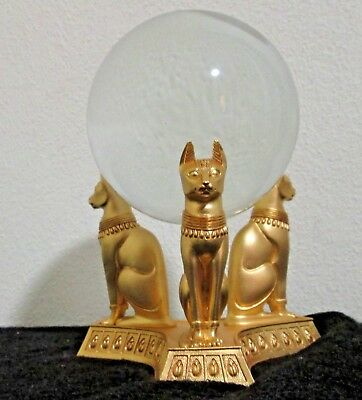 "6.5"" Egyptian Goddess BAST CAT Base & CRYSTAL BALL Vintage Franklin Mint Gold"