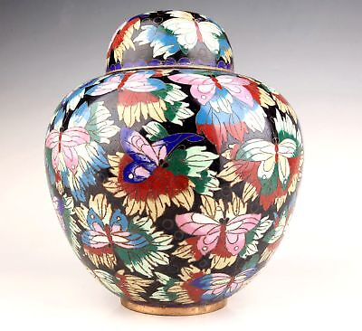 Ld Chinese Rare Cloisonne Hand-Carved Butterfly Embellished Large Jar Collection