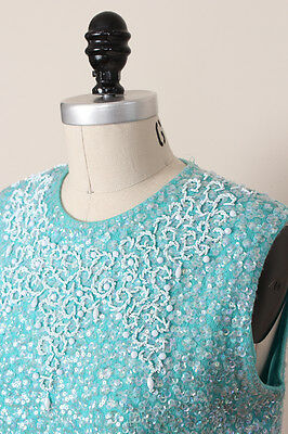 Vintage Sweater, Cropped, Beaded, Sequined, Sleeveless, Turquoise, Green, Blue