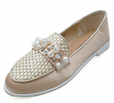 Ladies Gold Satin Slip-On Loafers Smart Casual Flat Comfy Pumps Shoes Sizes 3-8