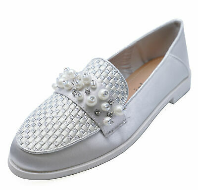 Ladies Silver Satin Slip-On Loafers Smart Casual Flat Comfy Pumps Shoes Uk 3-8