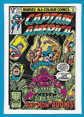 """Captain America #243_March 1980_Vf/nm_""""...and Now Adonis""""_Bronze Age Marvel_Uk!"""