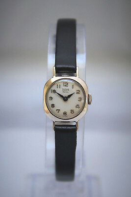 TUDOR by ROLEX - SOLID GOLD LADIES VINTAGE CUSHION WATCH -BEAUTIFUL!-NO RESERVE!
