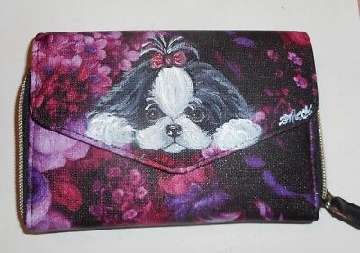 Shih Tzu dog Hand Painted  Leather Wallet for Women Vegan