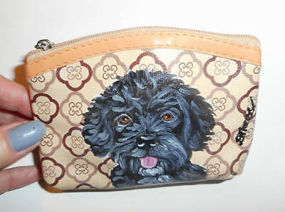 Portuguese Water Pug dog Hand Painted Leather Coin Purse Mini Wallet