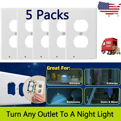 5Pack Plug Cover LED Night Angel Wall Outlet Face Hallway Bedroom Bathroom Light