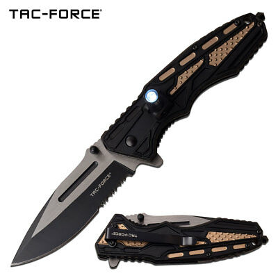 "Spring-Assist Folding Knife | Mtech Tan Tactical EDC Black Serrated 3.5"" Blade"