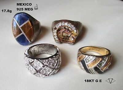 Estate Junk Drawer Lot of 4 Vintage Men's Costume Jewelry Rings
