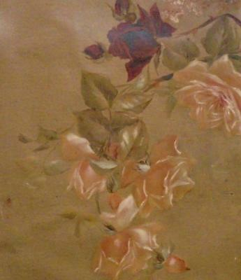 EXQUISITE ANTIQUE FRENCH 19th CENTURY HAND PAINTED ROSES ON LINEN CANVAS 272