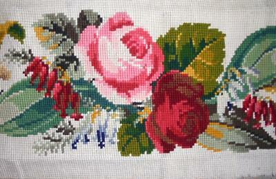NEW AUTUMN STOCK: EXQUISITE 19th CENTURY BERLIN WOOLWORK, ROSES FLOWERS 270