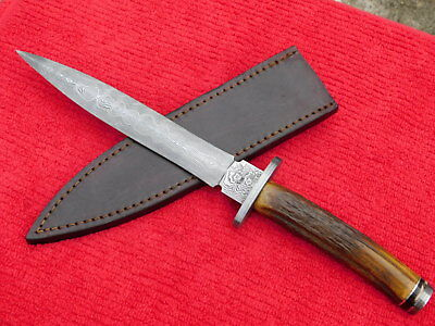 Stek Damascus STAG Double Edge Arkansas Toothpick Fighter Bowie Fix Blade Knife