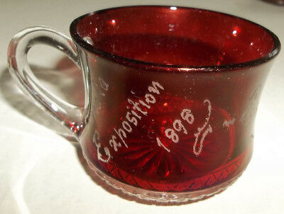Antique 1898 Omaha Exposition Souvenir Ruby Stained Flash Etched Cup