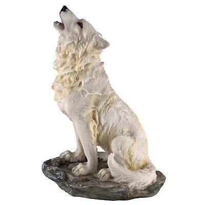 "White Wolf Howling Figurine Statue Resin 8"" High - Highly Detailed - New In Box"