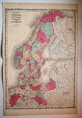 Vintage 1860 SWEDEN NORWAY DENMARK MAP ~ Old Antique Original Atlas Map 101118