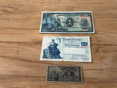Lot Of 3 South America Banknotes Paper Money Rare