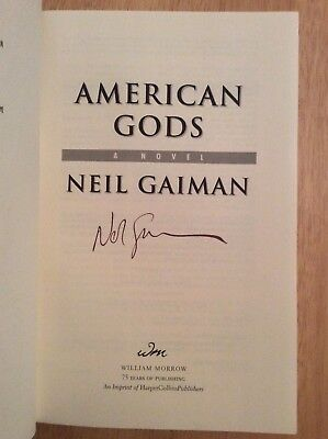SIGNED by Neil Gaiman - American Gods HC Book + Pic