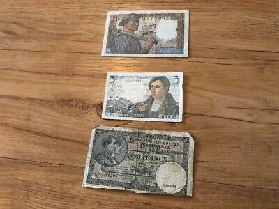 Lot Of 3 Belgium And France Banknotes Paper Money Rare