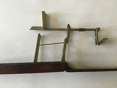 Antique BRASS Folding Pocket Scale Dark Wood Box Coin Balance ENGLISH Bell ??