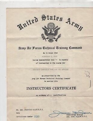 USA Army Instructors Certificate, not dated, for Alexander Nagy, signed ( 2754