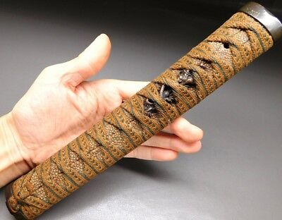 258mm Long KATANA TSUKA w Dragon Menuki 19thC Japanese Edo Koshirae Antique F984