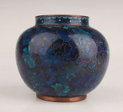 Chinese Old Cloisonne Handmade Rare Flower Jar Pot Collection Decoration