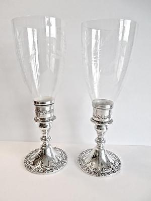 Gorham Sterling Silver CHANTILLY DUCHESS CANDLESTICKS w/ Gorham Hurricane Shades
