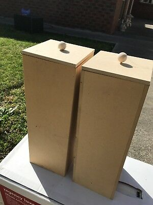 Craft Wooden Boxes For Toilet Rolls X 2 With Lids - New