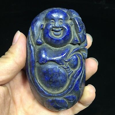 Old Antique Rare Chinese Collectible Lapis Lazuli Handwork Smile Maitreya Statue