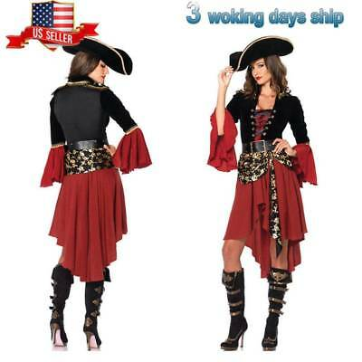 Women Sexy Pirate Costume Swashbuckler Girl Halloween Cosplay Fancy Dress HOT US