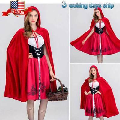 Women Girl Little Red Riding Hood Halloween Cosplay Costume Fancy Dress Outfit