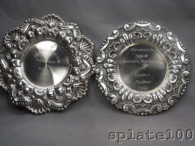 Pair Portuguese Hallmarked Sterling Silver Presentation Trays