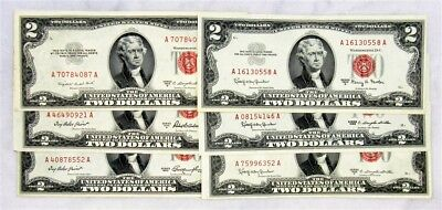 Lot of 6 Series 1953-1963 $2 Red Seal US Notes - Lightly Circulated
